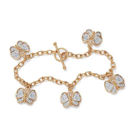 18k Gold-Plated Filigree Butterfly Charm Bracelet 7 1/2