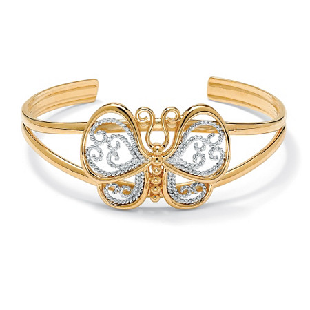 18k Gold-Plated Filigree Butterfly Cuff Bracelet 6 1/2