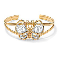 18k Gold-Plated Filigree Butterfly Cuff Bracelet 6 1/2""