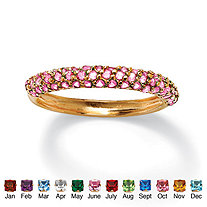 Round Birthstone 18k Gold-Plated Stackable Pave Ring
