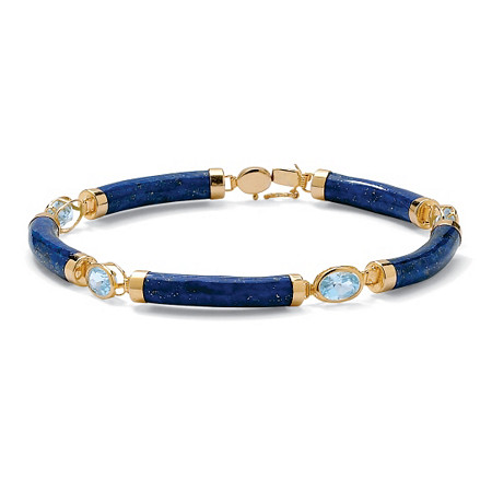 4.40 TCW Genuine Lapis and Blue Topaz Link Bracelet in Golden Finish over Sterling Silver at PalmBeach Jewelry
