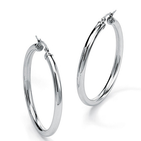 Stainless Steel Tubular Hoop Earrings (70mm) at PalmBeach Jewelry