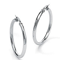 "Stainless Steel Tubular Hoop Earrings (2 3/4"")"