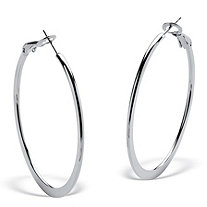 Stainless Steel Hoop Earrings (1 3/4