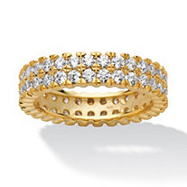 2.11 TCW Round Cubic Zirconia Double Row Eternity Ring Band in 18k Gold over Sterling Silver