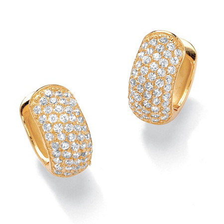 "1.37 TCW Round Cubic Zirconia 18k Gold-Plated Five-Row Huggie-Style Hoop Earrings (1/2"") at PalmBeach Jewelry"