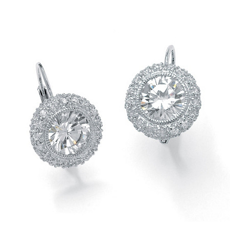 5.02 TCW Round Bezel-Set Cubic Zirconia Platinum over Sterling Silver Drop Earrings at PalmBeach Jewelry