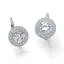 5.02 TCW Round Bezel-Set Cubic Zirconia Platinum over Sterling Silver Drop Earrings