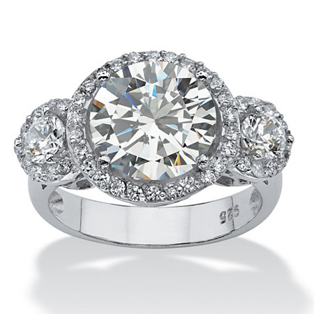 4.90 TCW Round Cubic Zirconia Platinum over Sterling Silver Bridal Anniversary Ring at PalmBeach Jewelry