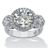SETA JEWELRY 4.90 TCW Round Cubic Zirconia Platinum over Sterling Silver Bridal Anniversary Ring