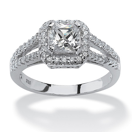 163 tcw princess cut cubic zirconia engagement ring in platinum over sterling silver - Cubic Zirconia Wedding Rings That Look Real