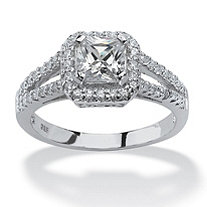 SETA JEWELRY 1.63 TCW Princess-Cut Cubic Zirconia Engagement Ring in Platinum over Sterling Silver