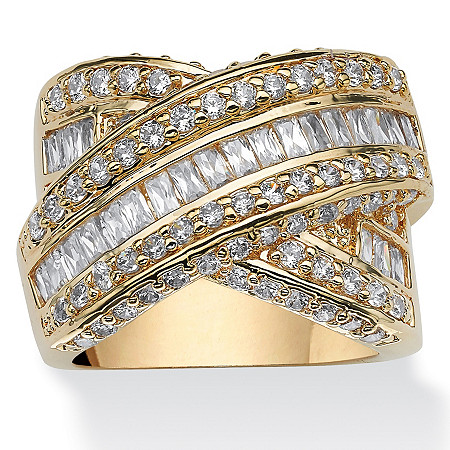 3.64 TCW Baguette Cut Cubic Zirconia Yellow Gold-Plated Crossover Ring at PalmBeach Jewelry