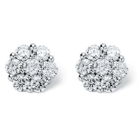 2.80 TCW Round Cubic Zirconia Platinum over Sterling Silver Stud Earrings at PalmBeach Jewelry