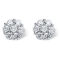 SETA JEWELRY 2.80 TCW Round Cubic Zirconia Platinum over Sterling Silver Stud Earrings