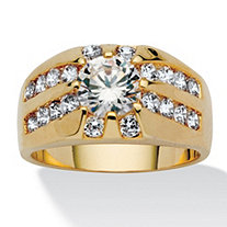SETA JEWELRY Men's 2.95 TCW Round Cubic Zirconia RIng in Gold Tone Sizes 9-16
