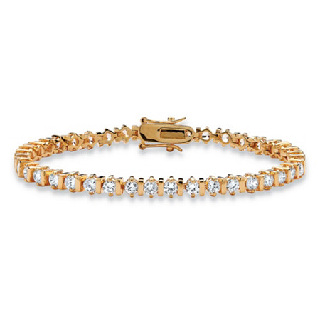 5 TCW Round Cubic Zirconia 14k Yellow Gold-Plated Tennis Bracelet 7 1/4