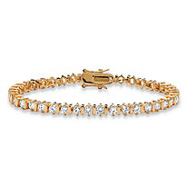 5 TCW Round Cubic Zirconia 14k Yellow Gold-Plated Tennis Bracelet 7 1/4""
