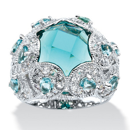 Round Simulated Aquamarine & Cubic Zirconia Cocktail Scrolling Loop Ring in Silvertone at PalmBeach Jewelry