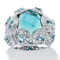 Simulated Aquamarine & Cubic Zirconia Cocktail Scrolling Loop Ring  ONLY $32.99