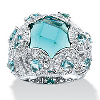 SETA JEWELRY Round Simulated Aquamarine & Cubic Zirconia Cocktail Scrolling Loop Ring in Silvertone