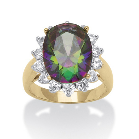 10.72 TCW Oval-Cut Mystic Cubic Zirconia 18k Gold-Plated Cocktail Ring at PalmBeach Jewelry