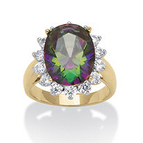 10.72 TCW Oval-Cut Mystic Cubic Zirconia 18k Gold-Plated Cocktail Ring