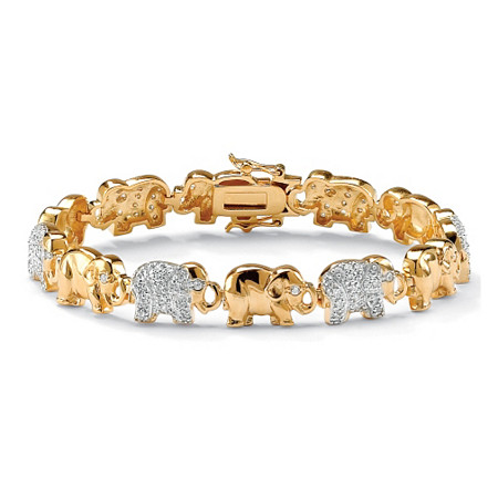 "1.32 TCW Pave Cubic Zirconia Elephant-Link Charm Bracelet in 18k Gold-Plated 8"" at PalmBeach Jewelry"