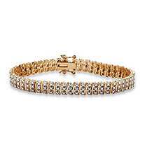 Diamond Accent S-Link Tennis Bracelet 18k Gold-Plated 8""