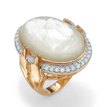 .60 TCW Cubic Zirconia and Bezel-Set Oval-Shaped Genuine Mother-of-Pearl 14k Gold-Plated Ring at PalmBeach Jewelry