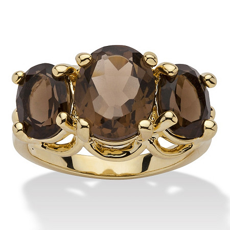 4.90 TCW Oval Cut Genuine Smoky Quartz 14k Yellow Gold-Plated 3-Stone Ring at PalmBeach Jewelry