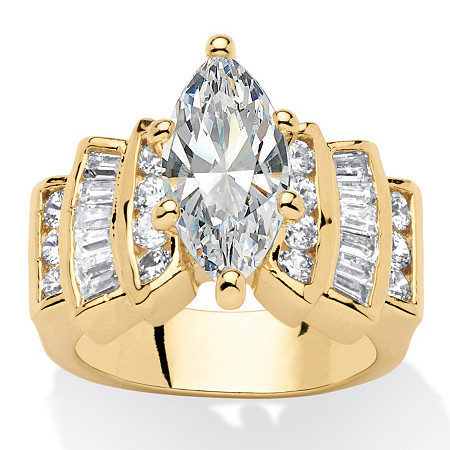 3.63 TCW Marquise-Cut Cubic Zirconia 14k Yellow Gold-Plated Ring at PalmBeach Jewelry