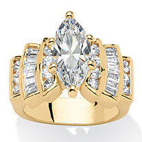 Marquise-Cut Cubic Zirconia Engagement Ring 3.63 TCW 14k Gold-Plated