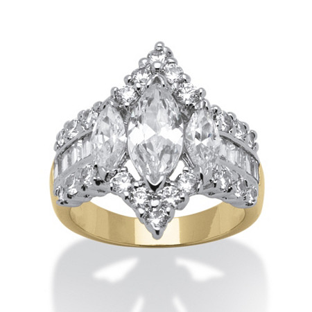 4.91 TCW Marquise-Cut Cubic Zirconia 14k Yellow Gold-Plated Engagement Anniversary Ring at PalmBeach Jewelry
