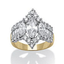 4.91 TCW Marquise-Cut Cubic Zirconia 14k Yellow Gold-Plated Engagement Anniversary Ring