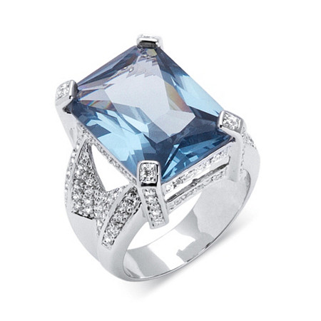 27.30 TCW Emerald-Cut Blue Cubic Zirconia Silvertone Cocktail Ring at PalmBeach Jewelry