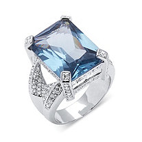 SETA JEWELRY 27.30 TCW Emerald-Cut Blue Cubic Zirconia Silvertone Cocktail Ring