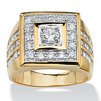 SETA JEWELRY Men's 2.18 TCW Cubic Zirconia Square Ring 14k Yellow Gold-Plated Sizes 8-16