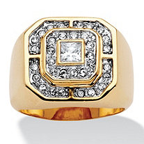 SETA JEWELRY Men's .87 TCW Square and Round Cubic Zirconia 14k Gold-Plated Octagon-Shaped Ring
