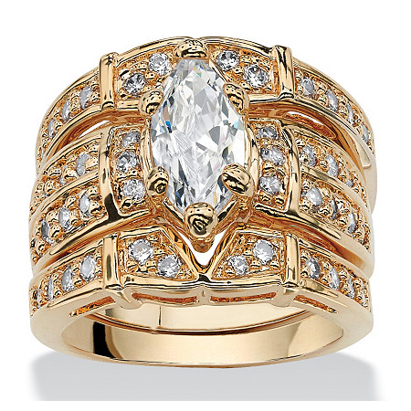 3.05 TCW Marquise-Cut Cubic Zirconia 14k Gold-Plated Bridal Ring Set at PalmBeach Jewelry