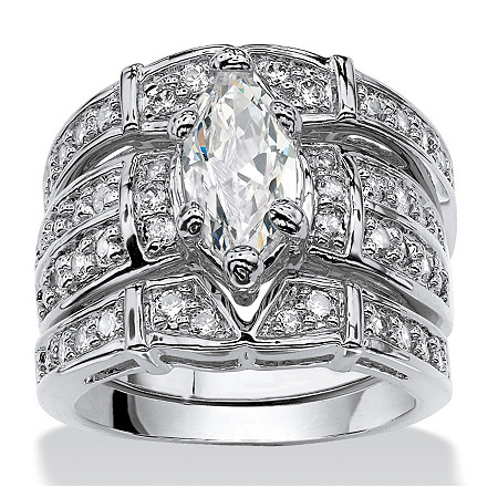 3.05 TCW Marquise-Cut Cubic Zirconia Silvertone Bridal Engagement Ring Wedding Band Set at PalmBeach Jewelry