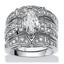 Marquise-Cut Cubic Zirconia Bridal Engagement Ring Wedding Band Set 3.05 TCW in Silvertone