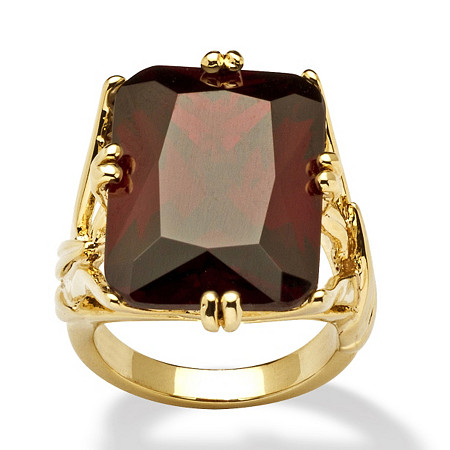 25.90 TCW Emerald-Cut Red Cubic Zirconia 14k Gold-Plated Branch Ring at PalmBeach Jewelry