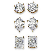 19.56 TCW Multi-Shaped Three-Pair Set of Cubic Zirconia Stud Earrings 18k Yellow Gold-Plated