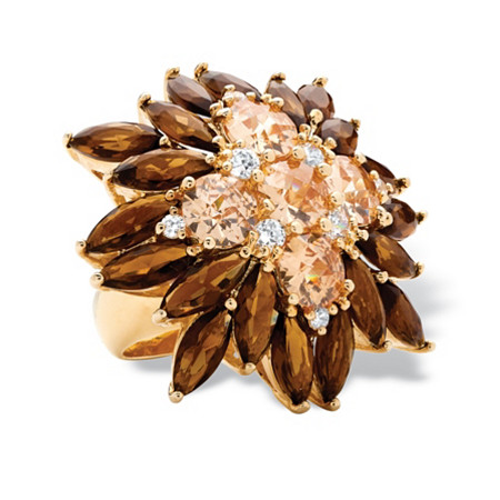 8.09 TCW Champagne-Color Cubic Zirconia and Smoky Quartz-Colored Glass 14k Gold-Plated Flower Ring at PalmBeach Jewelry