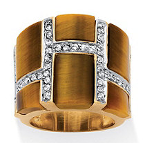 .45 TCW Emerald-Cut Genuine Tiger's Eye Cubic Zirconia Accent 14k Yellow Gold-Plated Band Ring