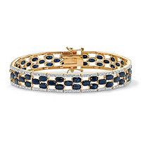 SETA JEWELRY 20.66 TCW Oval-Cut Midnight Blue Genuine Sapphire Diamond Accent 14k Gold-Plated Tennis Bracelet