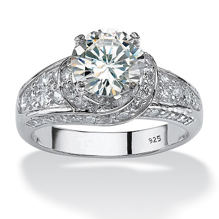 3.51 TCW Round Cubic Zirconia Platinum over Sterling Silver Engagement Anniversary Crossover   Ring at PalmBeach Jewelry