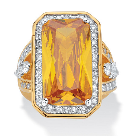 45.52 TCW Emerald-Cut Canary Yellow Cubic Zirconia Cocktail Ring 14k Yellow Gold-Plated at PalmBeach Jewelry