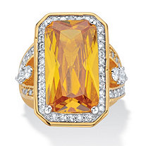 45.52 TCW Emerald-Cut Canary Yellow Cubic Zirconia Cocktail Ring 14k Yellow Gold-Plated